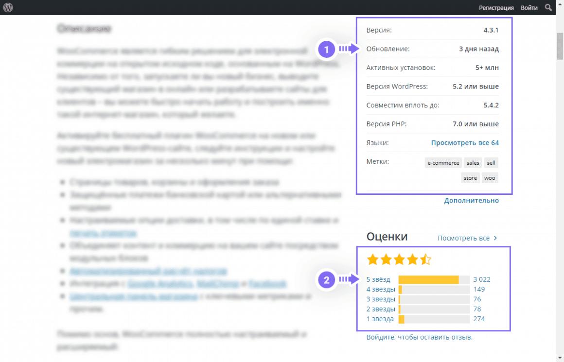 Области статистики плагина для WordPress