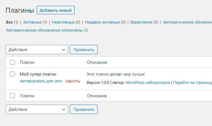 Как создать плагин для WordPress - Активация плагина