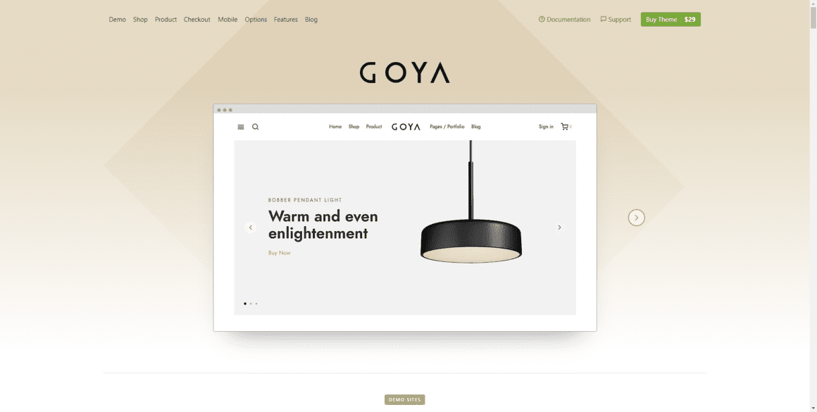 Goya – Шаблон интернет магазина для WordPress