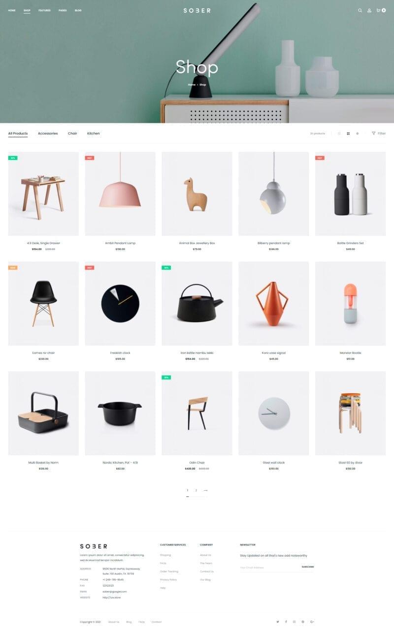 Общий вид каталога в шаблоне интернет магазина для WooCommerce