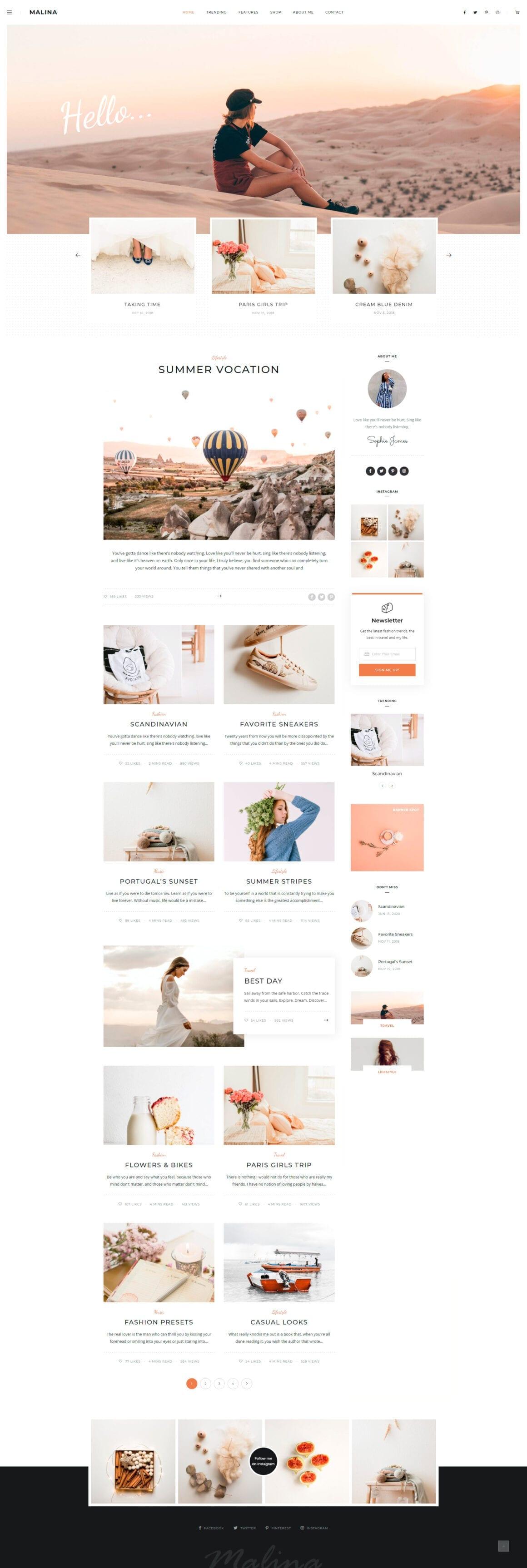 Шаблоны блога на WordPress