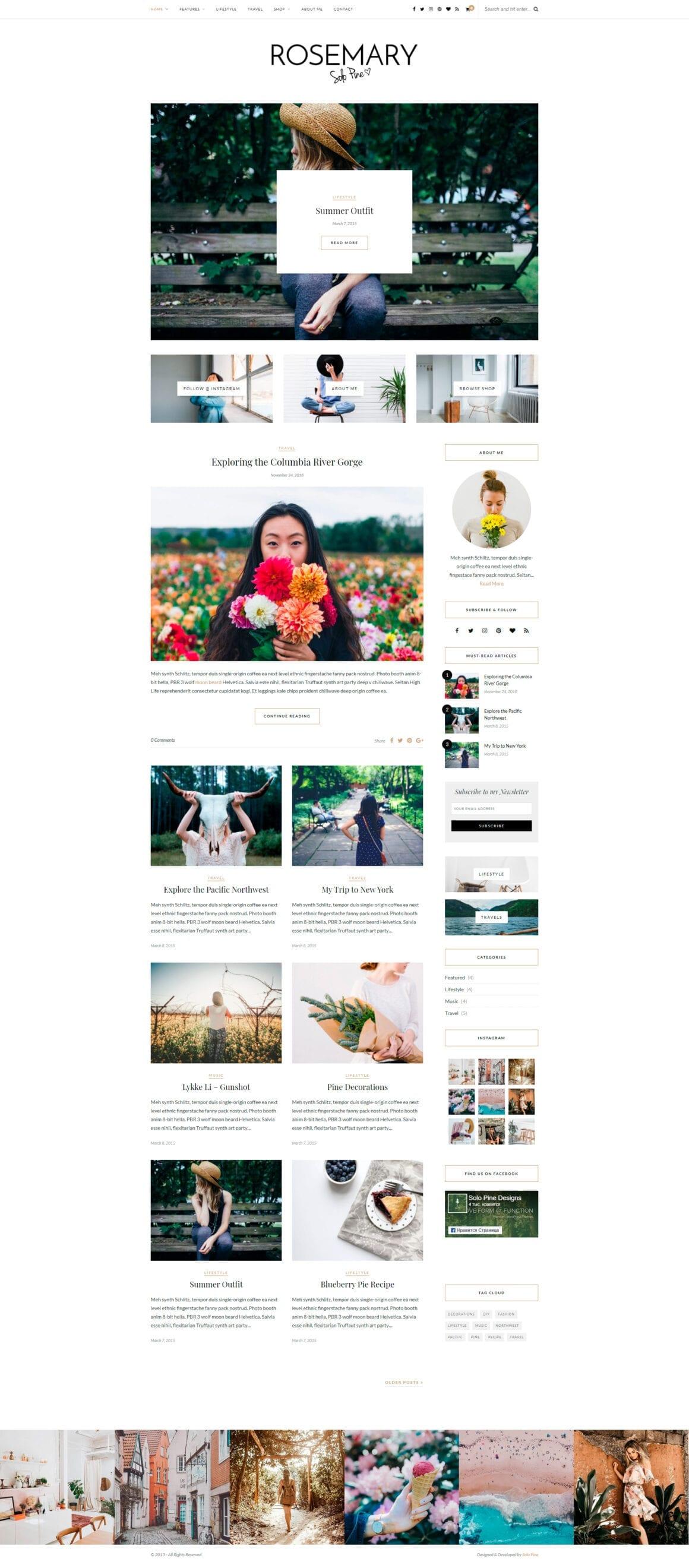 Шаблон персонального блога для WordPress