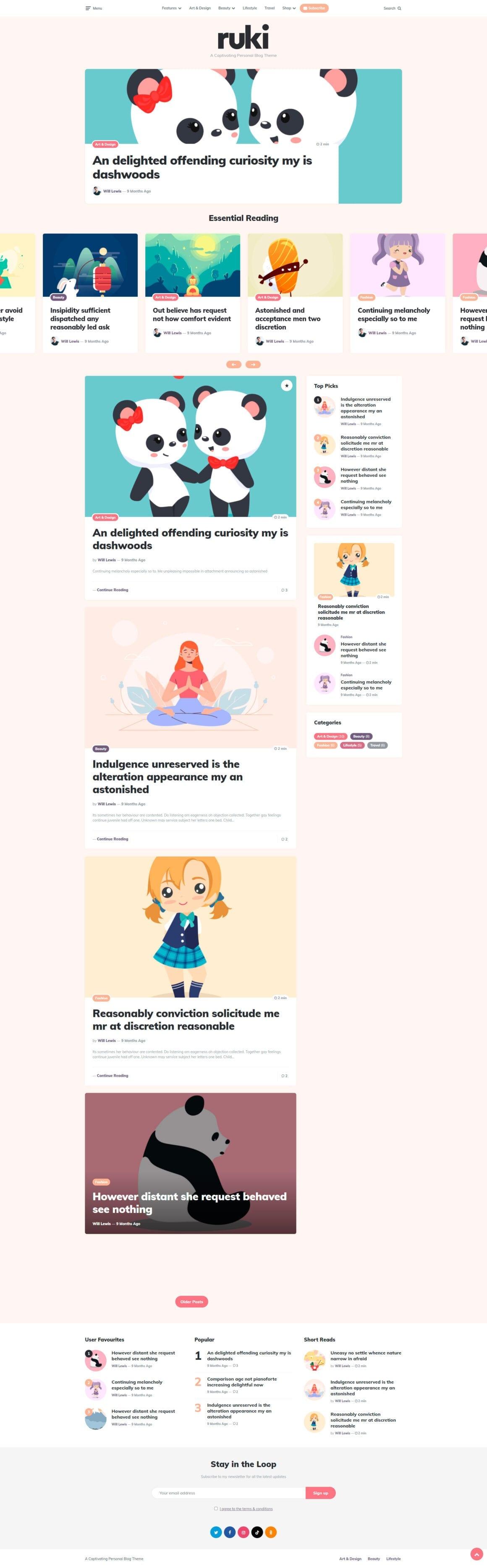 Тема персонального блога для WordPress
